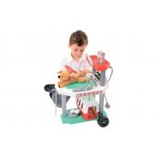 Игровой набор для девочек Ветеринарная клиника со щенком, тележкой, переноской и 15 аксессуарами, Ecoiffier