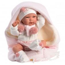Игровая Испанская Кукла Llorens Nika малышка Ника из винила белой кофточке и шортах с розовыми помпонами, 40см