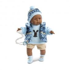 Игровая Испанская Кукла Llorens Зареб из винила, плачущая с соской, в голубом костюме с бежевыми шортами, 42см