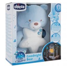 Детская Подвесная Мягкая Игрушка Ночник Медвежонок Голубой с Мелодиями и Звуками природы регулируемый Сhicco