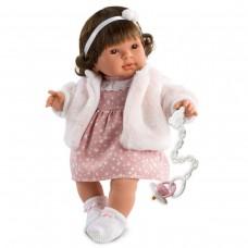 Детская Игровая Испанская Подвижная Говорящая Кукла Ллоренс Пиппа 42 см в плюшевой шубке с соской Llorens из винила