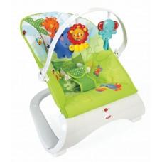 Детский Шезлонг-качалка Тропические друзья со съемным сиденьем, дугой с игрушками, вибрацией, Fisher Price