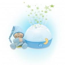 Детская Съемная Мягкая Игрушка проектор-ночная лампа Звезды Голубой с мелодиями и звуками природы Chicco Чико