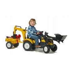 Детский Педальный Трактор Falk Farm Trac с двумя ковшами, маневренными колесами и звуковыми сигналами, ЖЕЛТЫЙ