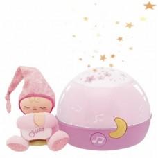Детский Музыкальный Ночник Проектор Первые грезы с мягкой игрушкой Человечком First Dreams Chicco, розовый