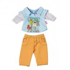 Детская Игровая Одежда для Куклы Бэби Борн Костюм для мальчика коричневый с серым 43см Baby Born Zapf Creation