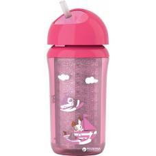 Детская Термочашка с трубочкой и поворотной крышкой розовая с рисунком 260 мл AVENT Авент из полипропилен