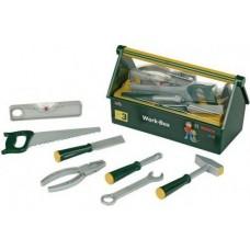 Детский Игрушечный Ящик с безопасными инструментами зеленый 7 предметов с пилой Work-box mini Bosch Klein