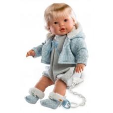 Детская Игровая Испанская Подвижная Говорящая Кукла для девочек мальчик Нико с соской 48 см Llorens из винила