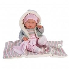Детская Игровая Испанская Подвижная Кукла для девочек малышка Ника с соской и пледом 38 см Llorens из винила