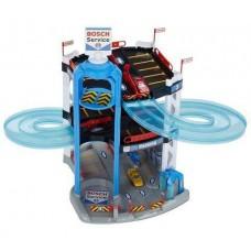 Игровой набор Трехуровневый Паркинг с лифтом, гоночным треком, 2 машинками и автозаправкой 51х55х55см, Klein