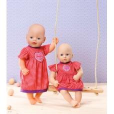 Детская Игровая Одежда для Куклы Бэби Борн Пижама-платье красное в полоску 38-46 см Baby Born Zapf Creation