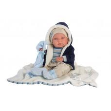 Детская Игровая Испанская Подвижная Кукла для девочек мальчик Нико с соской и пледом 38 см Llorens из винила