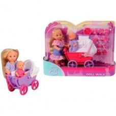 Игровой набор Кукла Еви с малышом в коляске с балдахином и аксессуарами для кормления - Doll Walk Evi Love Simba