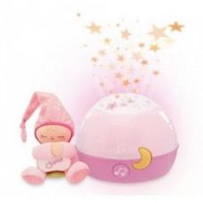 Детская Съемная Мягкая Игрушка проектор-ночная лампа Звезды Розовая с мелодиями и звуками природы Chicco Чико