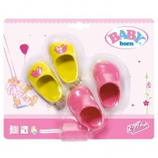 Детские Игровые Розовые туфли и желтые туфли с бабочками для Куклы Бэби Борн 2 пары Baby Born Zapf Creation
