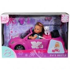 Игровой набор Кукла Еви в розовом кабриолете с питомцем-щенком и аксессуарами - Evi Love Evi's Beetle Simba